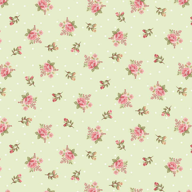 8696-66 Green Small Floral Flannel