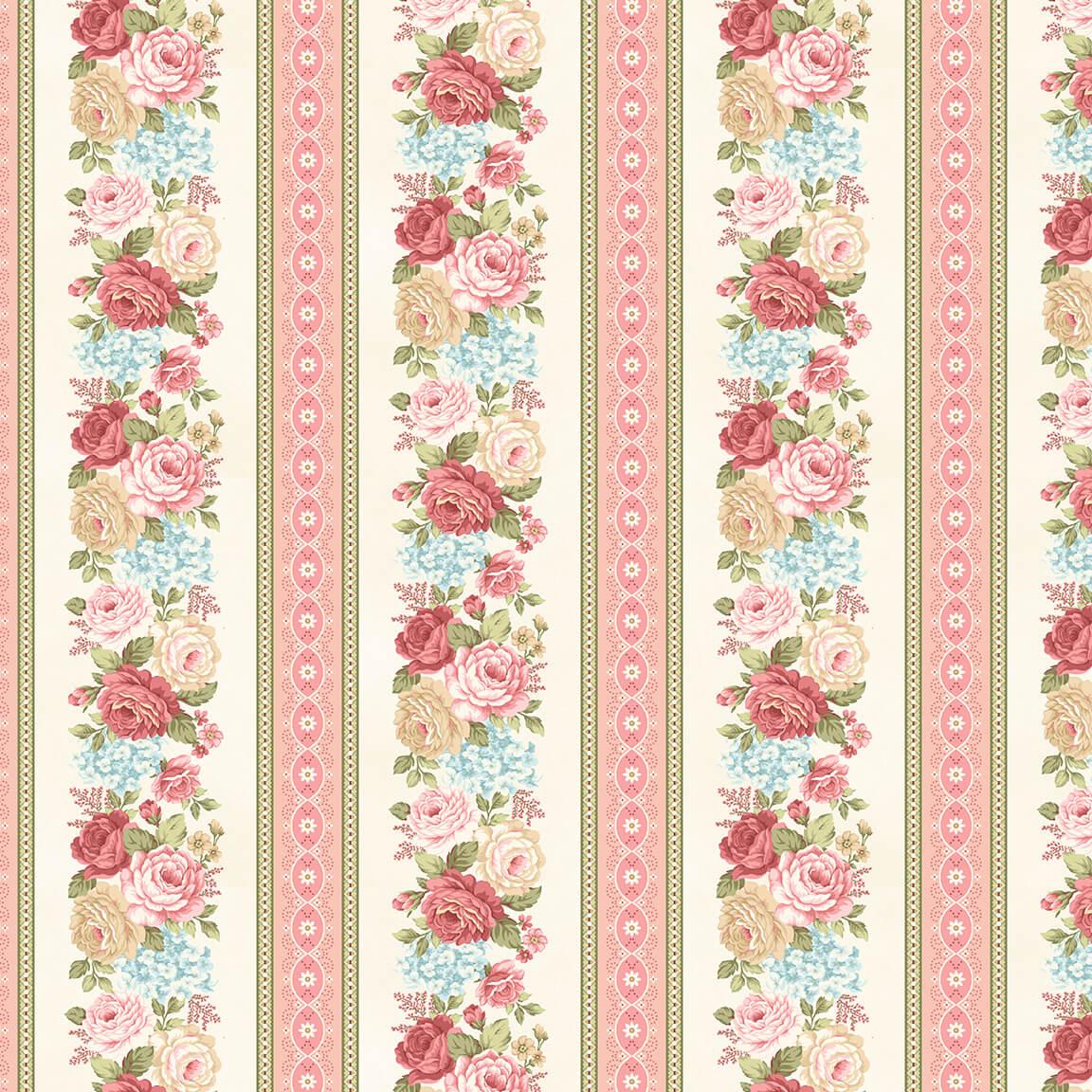 8697-44 Cream Floral Border Strip Flannel