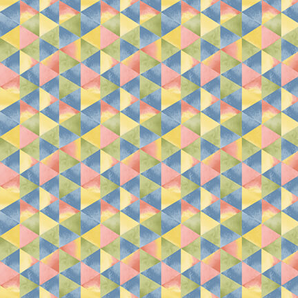 SPECIALTY FABRICS:  Watercolor Triangles in Pink, Blue, Yellow, and Green:  Blessings by Jane Alison for Henry Glass & Co.