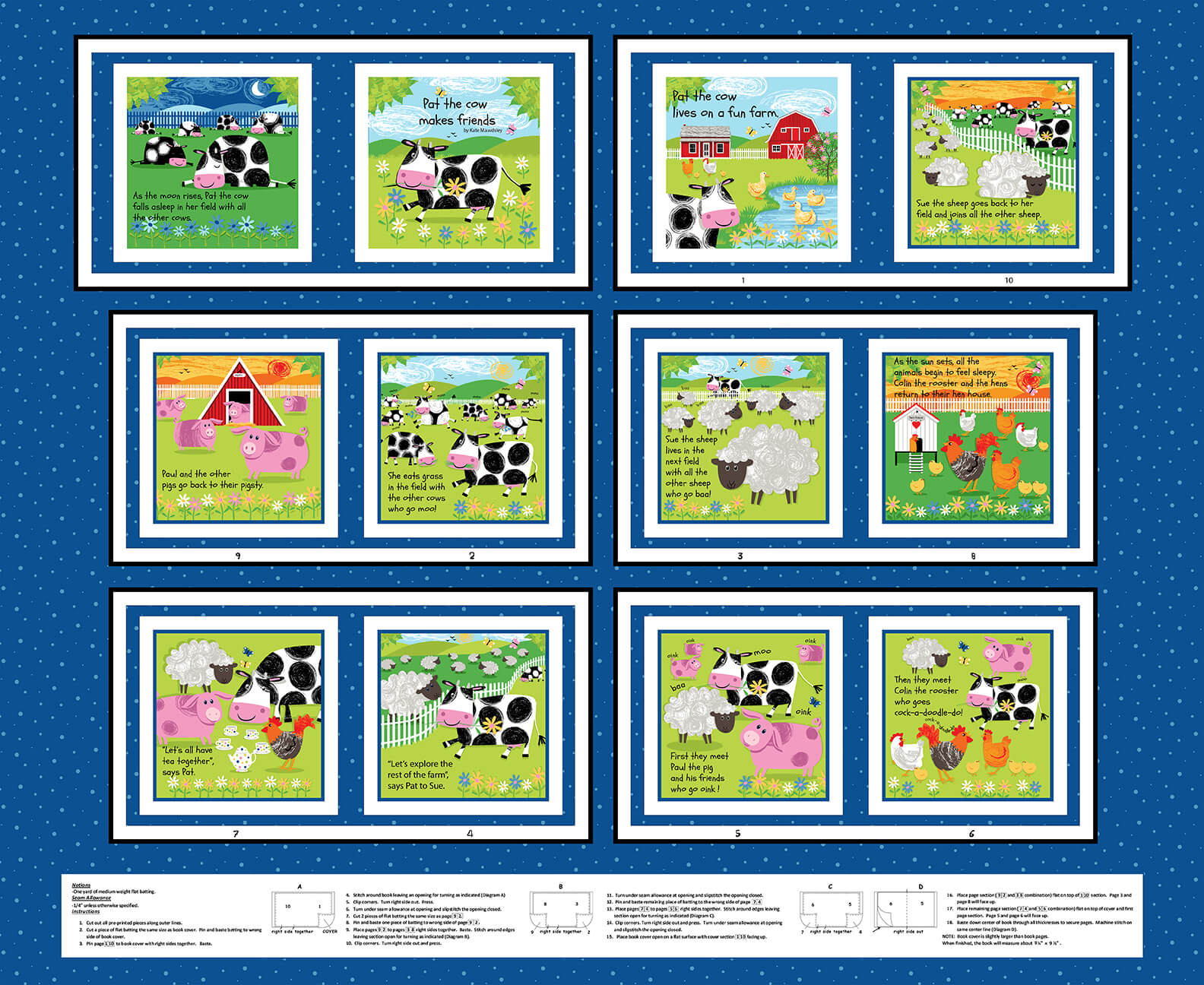 Best Friends Farm - Farm Animal Book 36 x 44 Panel  - by Kate Mawdsley for Henry Glass - copy