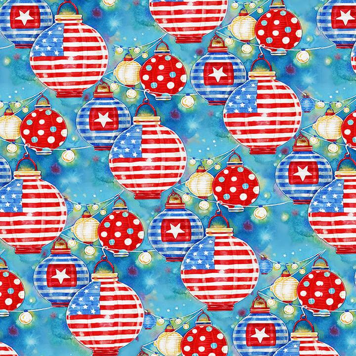Henry Glass & Co. Star Spangled Summer 9032-77 Red White & Blue