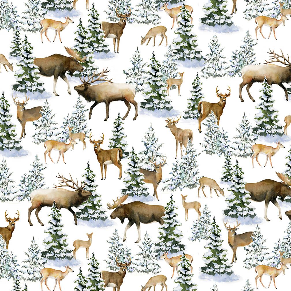 Snowy Woods- Deer and Moose