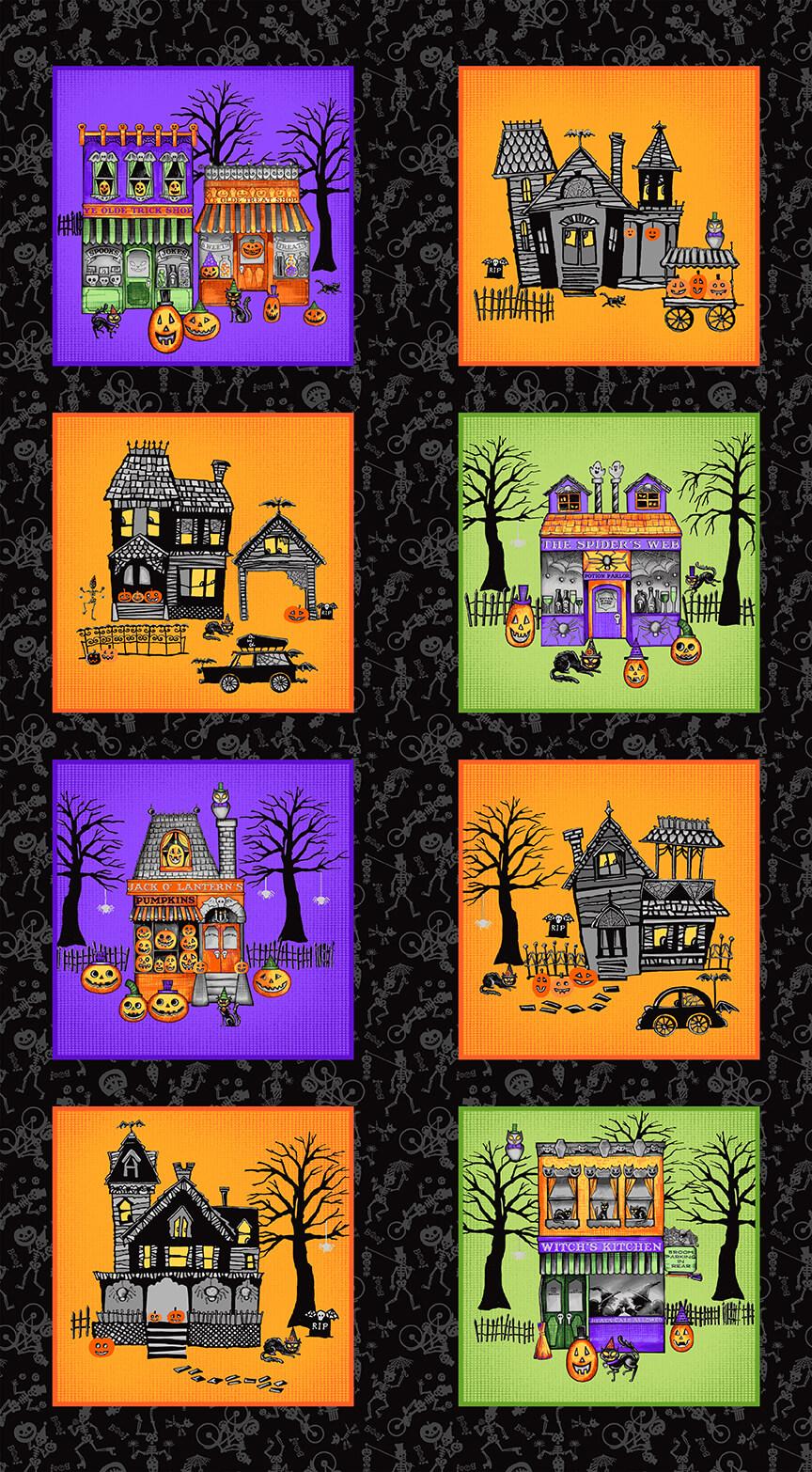 Spooky Town panel 9104PM-98 by Jennifer Allen