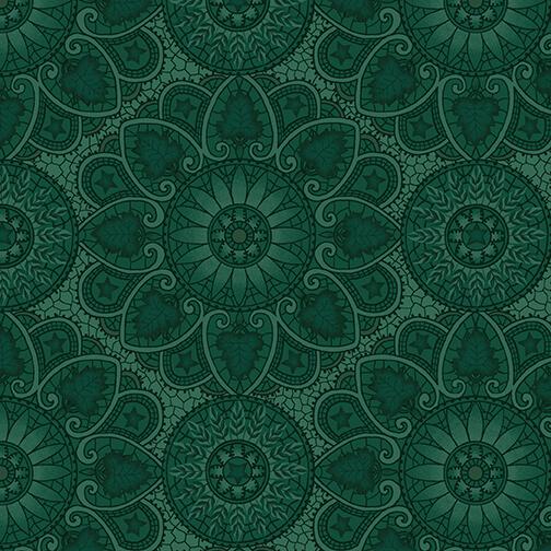 Henry Glass October Morning By Kim Diehl 9139-77 Teal Autumn Mandala