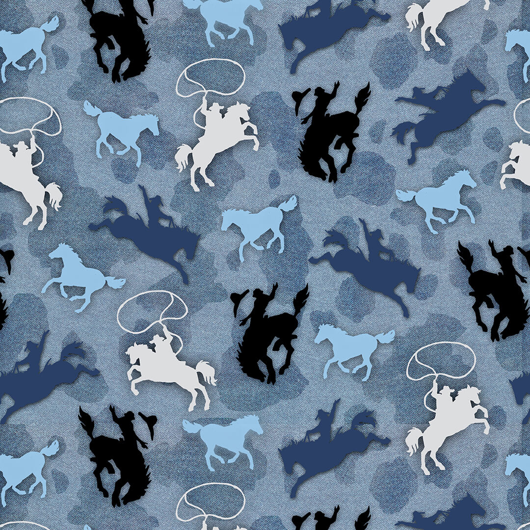9151-11 Sunset Rodeo / Riding Broncos - Blue