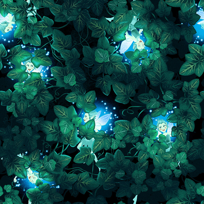 Small Floral on black/green - Summer Soiree by Henry Glass Fabrics
