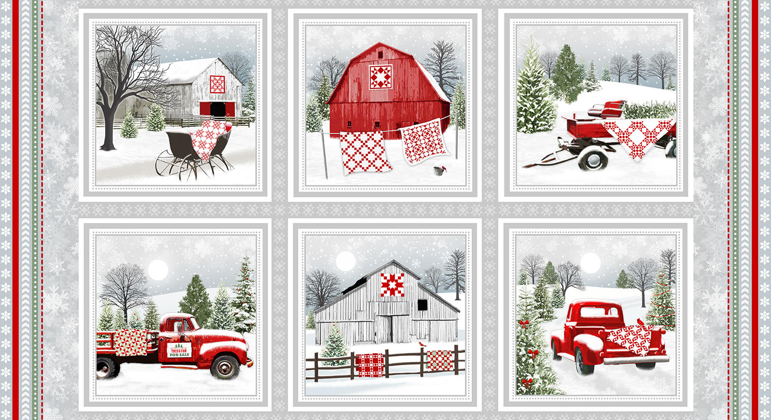 Holiday Heartland Gray/Red Barns and Trucks in Blocks