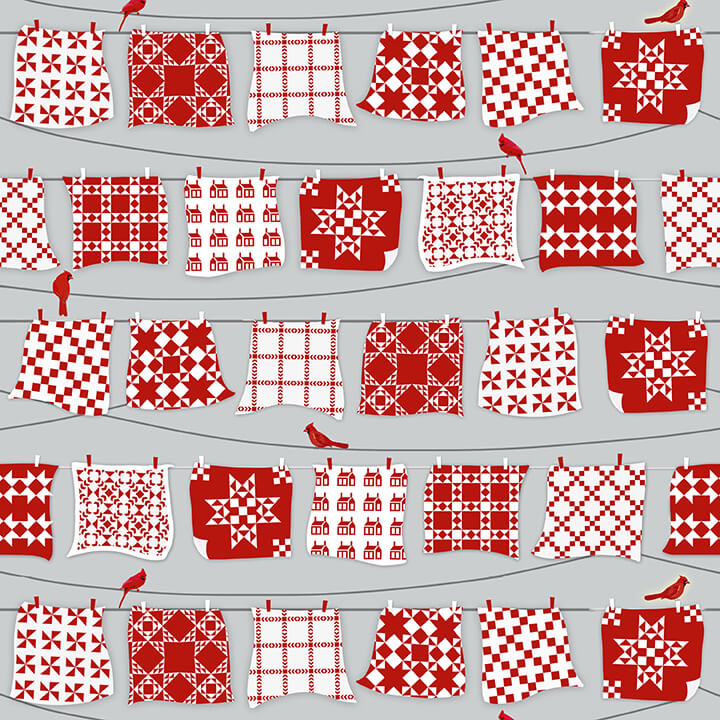 Henry Glass Holiday Heartland 9209-98 Gray/Red