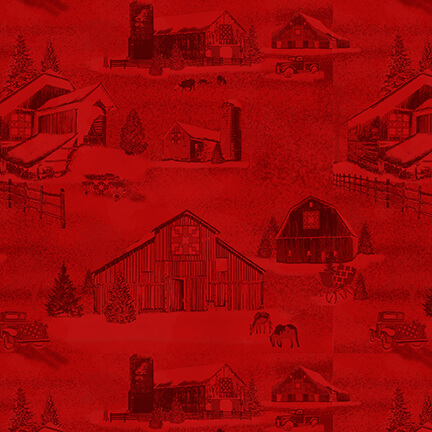 Holiday Heartland - Monotone Barns, Red - by Jan Shade Beach for Henry Glass