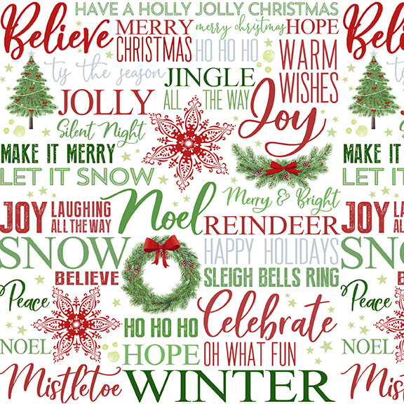 Holiday Heartland Multi Holiday Words on White Ground