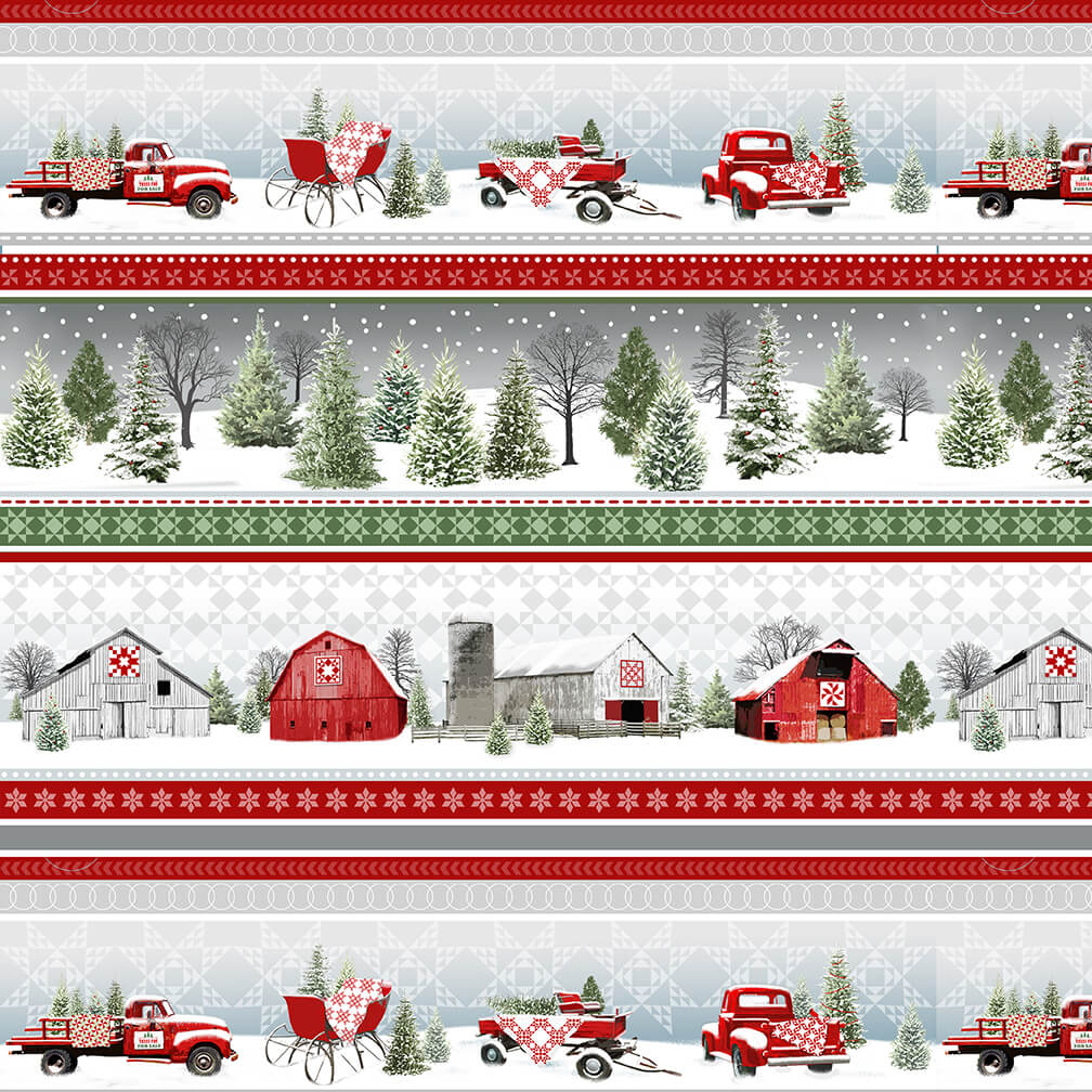 Holiday Heartland - Novelty Stripe and Sleds - by Jan Shade Beach for Henry Glass