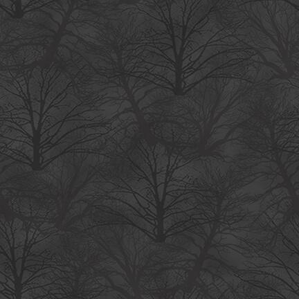 Holiday Heartland - Trees Tonal, Gray - by Jan Shade Beach for Henry Glass