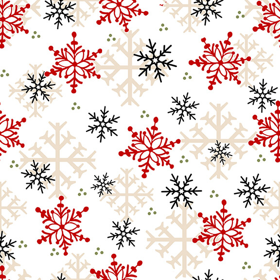 Flannel Gnomes-Snowflakes-Multi-68-89 White