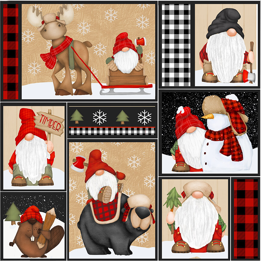 Timber Gnomies 9269-89 Gnomes Patchwork Multi
