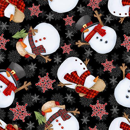 Black Tossed Snowmen - Timber Gnomies by Henry Glass Fabrics