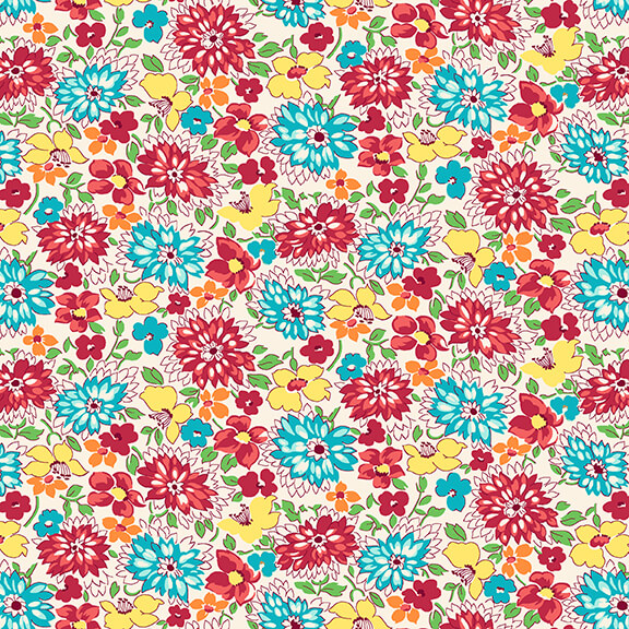 Nana Mae IV Multicolored Wildflowers Red and Aqua Fabric by Henry Glass