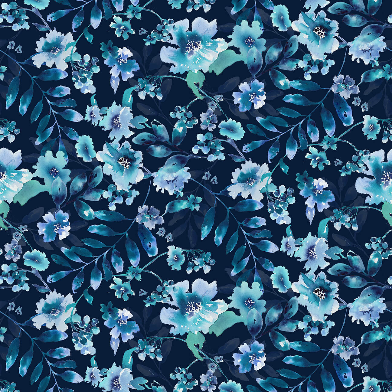 Midnight Sapphire Watercolor Large Floral Navy