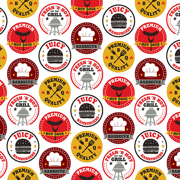 Peace Love & BBQ 9509-8 White/Multi Patches