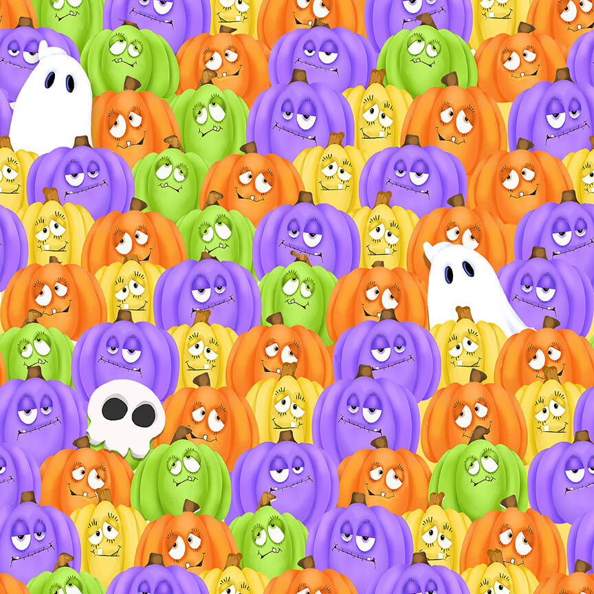 9601-35 Multi Stacked Pumpkins and Ghosts Glow Ghosts GLOW IN THE DARK Shelly Comiskey Henry Glass & Co., Inc.
