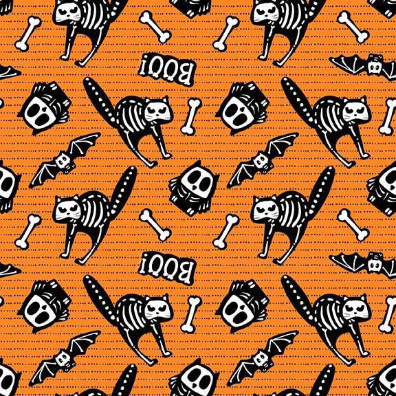 Glow Ghost Skeletons on Orange