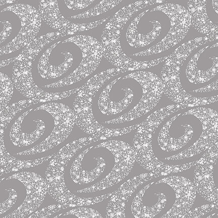 Henry Glass & Co. Holiday Lane 9621-90 Grey Swirling Snow