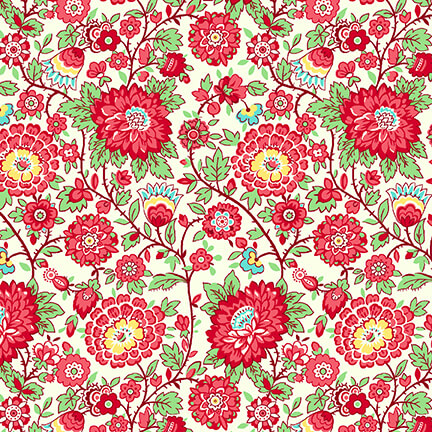 Nana Mae V -  Red Medium Floral