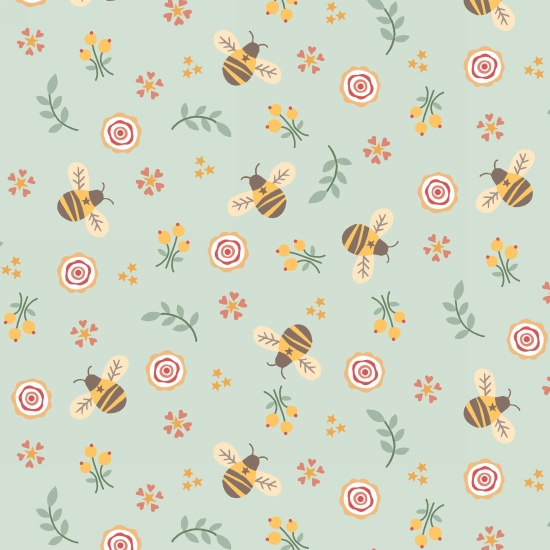 Bumble Garden 2-Ply Flannel Bumble Bees on Aqua