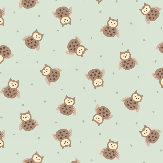 Bumble Garden 2-Ply Flannel Owls on Green