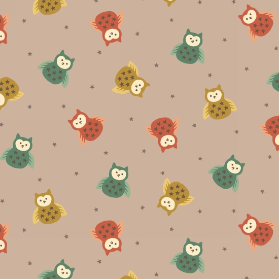 Bumble Garden 2-Ply Flannel Owls on Brown