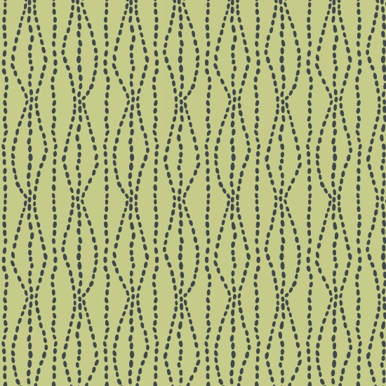 Bumble Garden 2-Ply Flannel Green Dashed Lines
