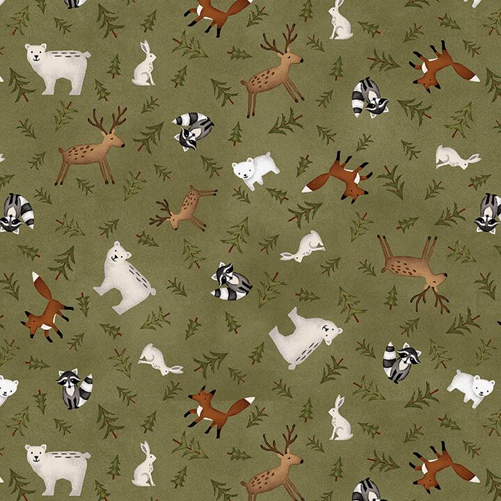 Folk Art III Animal Toss Forest Flannel