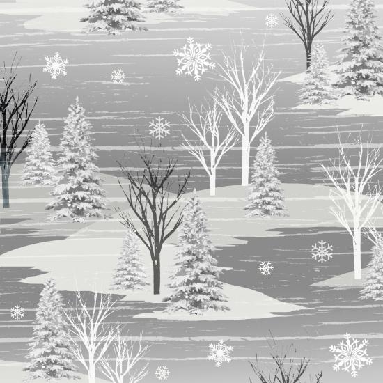 Frosty Folks Flannel gray winter scene