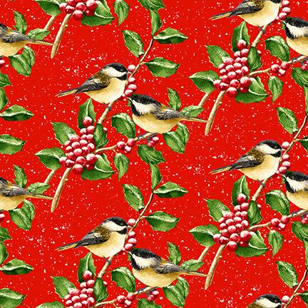 Snowbird Red Chickadees on Berries