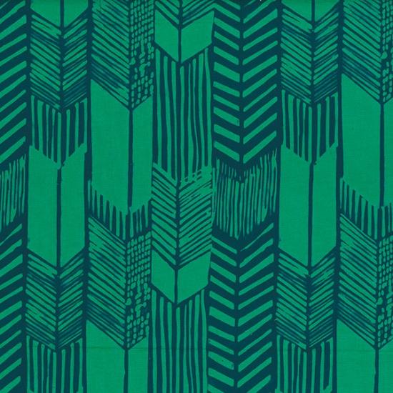 Hoffman Indah Hand Dyed Batik - Feathered Arrows - Spruce