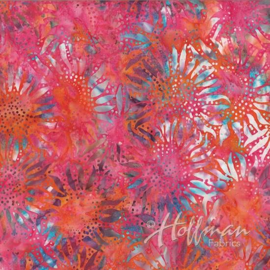 884 368 Coral Gables Batik for Hoffman Fabrics. 100% cotton 43 wide