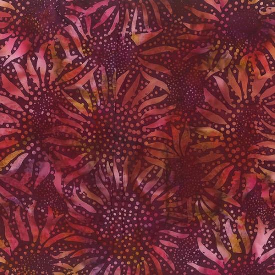 Sunflower Burgundy Batik
