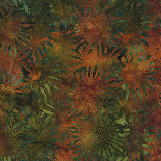 Hoffman Bail Batik 884-66 Autumn Sunflowers
