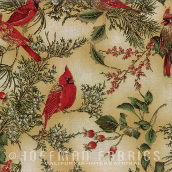 Hoffman Fabrics - Christmas Cardinals on Cream with Gold Metallic H8821-33G