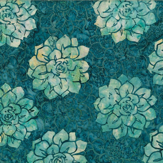 MR12-21-Teal Succulents Bali Batik McKenna Ryan of Pine Needles Designs Hoffman
