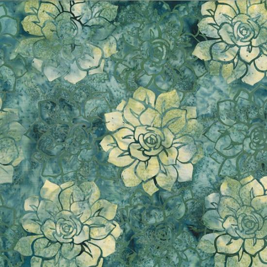 Hoffman Bali batik MR12-77-Sage Succulents McKenna Ryan