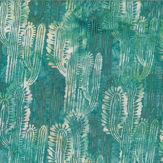 MR16-61-Turquoise Catcus Bali Batik McKenna Ryan of Pine Needles Designs Hoffman
