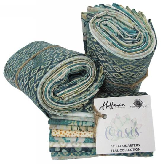 Hoffman Bali Batik MROASISFQ-21-Teal 12 Fat Quarter Bundle McKenna Ryan