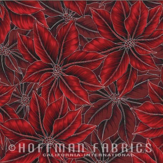 Hoffman Red-Silver Poinsettia Song N7524 - 5S