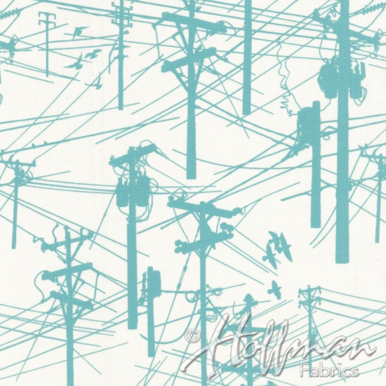 Grafic: Telephone Poles and Linemen in Teal and White by Latifah Saafir Studios for Hoffman