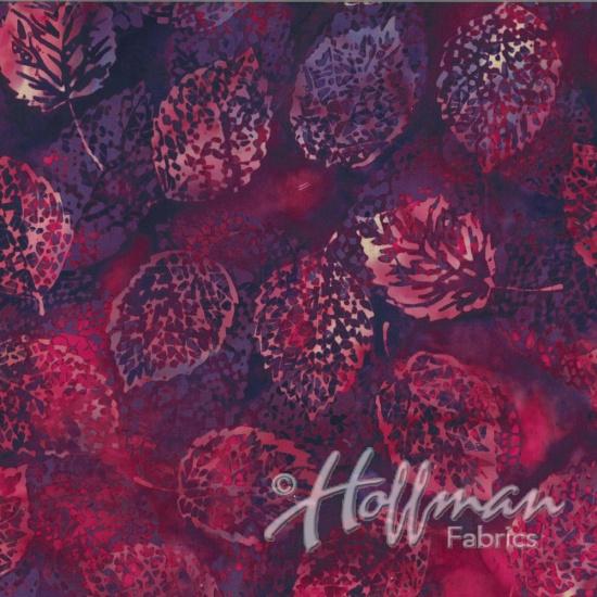 HOFF- Batik Pale Pink Leaves on Fuschia & Purple