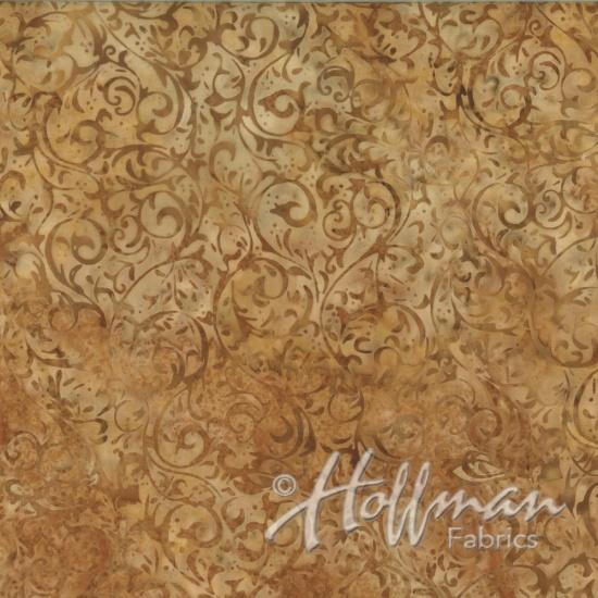 Hoffman Bail Batik Q2134-566 Cornbread Scroll