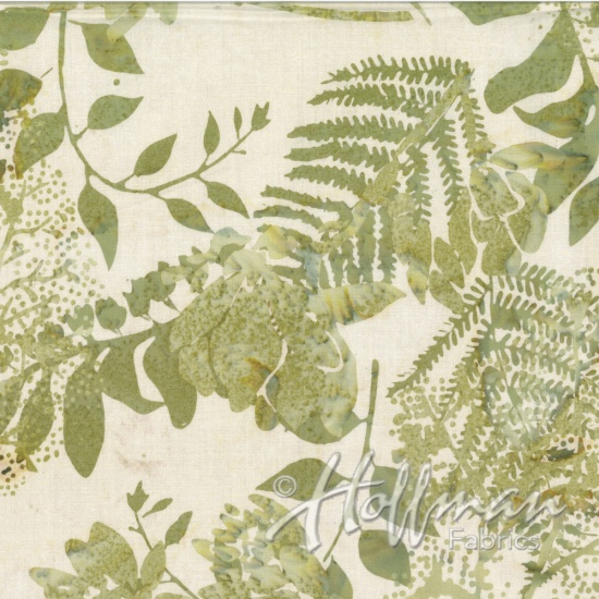 HOFF- Batik Green Ferns & Leaves on Cream