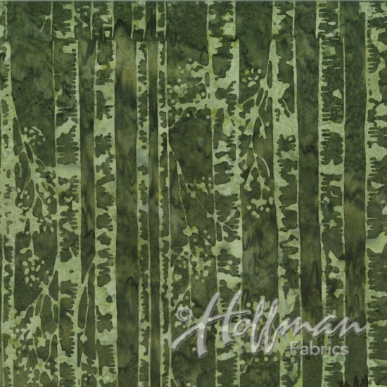 Hoffman Bail Batik Q2141-202 Grasshopper Birch Trees