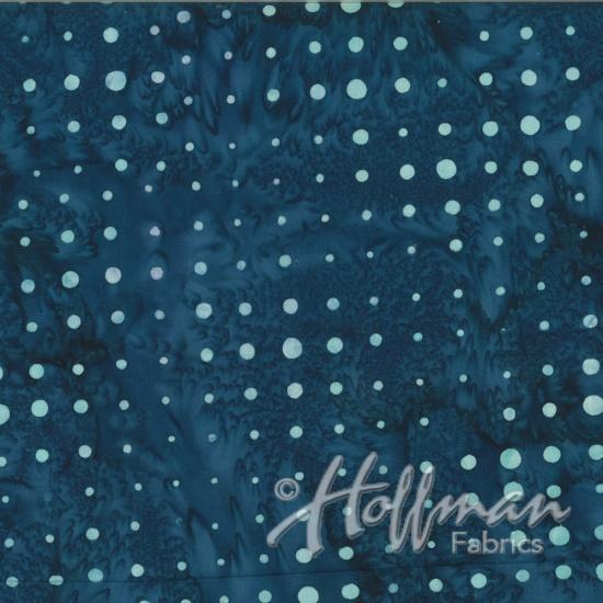 Hoffman Bail Batik Q2144-442 Flax Blue Dots