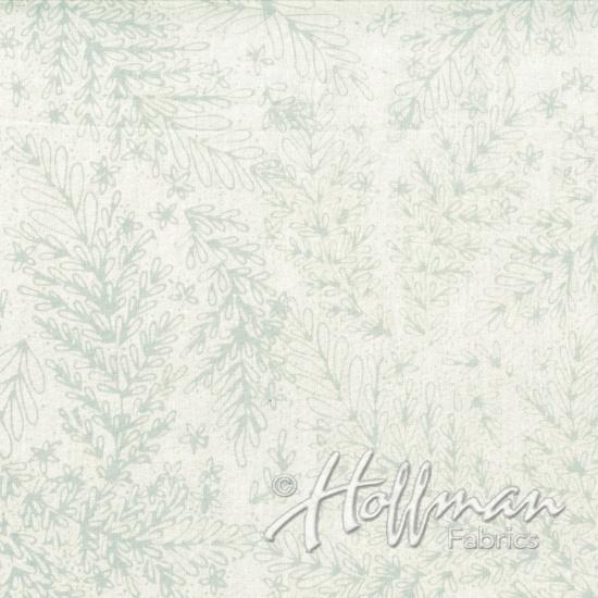Hoffman Bali Batik Q2147-521 Mist Leafy Branches Light Gray